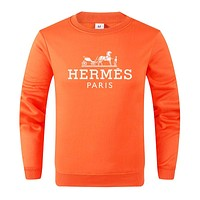 Hermes Popular Couple Print Round Collar Long Sleeve Sweater Top Orange