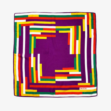 OROTON!!! Vintage 1970s 'Oroton' colourful square scarf with interlocking, graphic block print