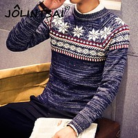 2017 Christmas Sweater New Autumn Fashion Brand Casual Jacquard Male Sweater O-Neck Slim Knitted Men's Sweaters