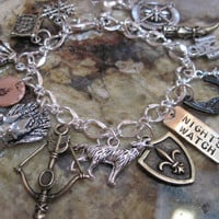 Game of Thrones Charm Bracelet - Winter Is Coming Not Today You Know Nothing A Song of Ice and Fire