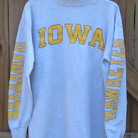 Vintage collectible Iowa Hawkeyes gray long sleeved, mock turtle neck t-shirt. Item is missing its tags but appears to be a size Large. Iowa