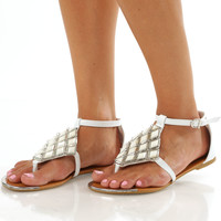 Diamond Steps Sandals: White