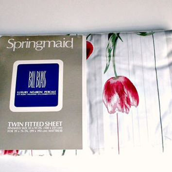 Vintage Springmaid Twin Fitted Sheet Simply Tulips Bill Blass Luxury No Iron Percale New Old Stock In Plastic
