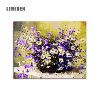 DIY Coloring By Numbers Purple Gypsophila Daisy Flower Painting By Numbers Acrylic Paint Coloring On Canvas For Modern Wall Art