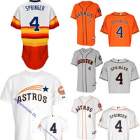 Houston Astros George Springer Jerseys, Houston Astros 4 George Springer Baseball Jersey w/ Commemorative 50th Anniversary Patch size S-4XL