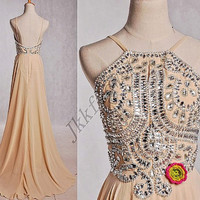 Long Champagne Sliver Beaded Prom Dresses,Champagne Spaghetti Straps Backless Prom Dresses,Long Chiffon Homecoming Dresses,Bridesmiad Dress