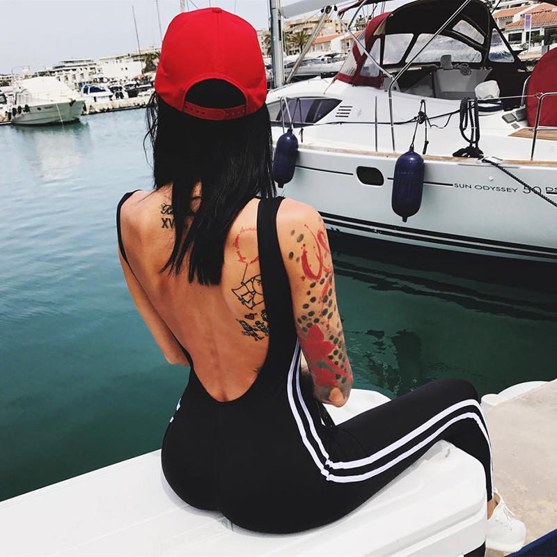Image of Sexy Backless Padded Stripe Sport Gym Romper Jumpsuit