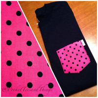 Pink Polka Dot Pocket Tee Size Unisex Adult by PocketTeesandThings