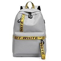 Off White New Fashion Letter Print Women Men Shopping Leisure Backpack Bag