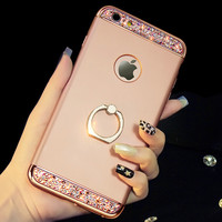 3 in 1 Hard PC Gold Buckle Holder Crystal Back Cover For iPhone 6 6S 7 Plus 5 5s Phone Case Coque Kickstand Fundas Coque