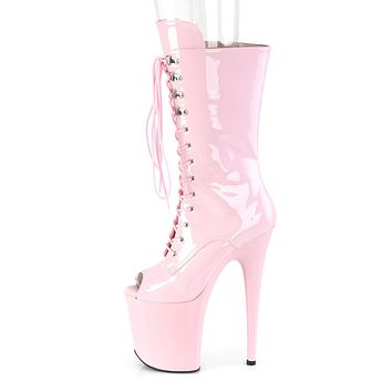 """Flamingo 1051 Patent Mid Calf Ankle Boots 8"""" Platform Heels - Baby Pink"""