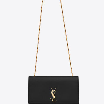 SAINT LAURENT CLASSIC LARGE KATE MONOGRAM SAINT LAURENT SATCHEL IN BLACK GRAIN DE POUDRE TEXTURED LEATHER | YSL.COM