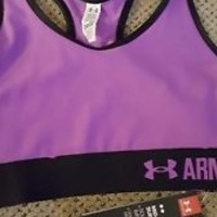 NWT Under Armour Mid Impact Racer Back purple Sports Bra Women's Size XS x-small