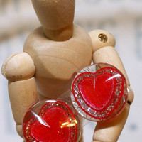 Cute as a Button Heart Earrings Great Gift Idea for Valentine's Day