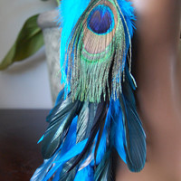 Turquoise Peacock Long Single Feather Earring by marcieroxx