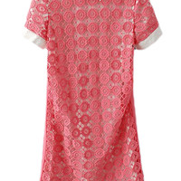 ROMWE Cut-out Lace Embroidered Short Sleeves Pink Dress