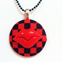 Checkered Hot Lips Necklace from Kute As a Button Shop