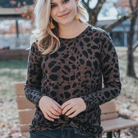 Leopard Twist Knot Front Top