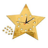 Living Room Silent Wall Clock Five-pointed Star Sticking    golden:30*23cm