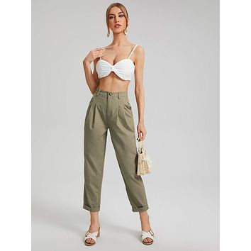SHEIN Roll Up Hem Solid Pants