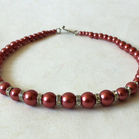 Elegant red beaded necklace. Wedding. Holidays. Faux pearls necklace. Beaded Jewelry. Ready to ship.