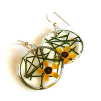 Geraldton Wax Flower and Foliage, Unique Handmade Earrings, Pressed Flower Earrings, Yellow Flowers, Jewelry with Real Flowers, Oceanpetals