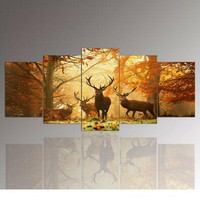 Deer Forest Picture Panel Print On Canvas Picture Home Wall Decor 5 piece
