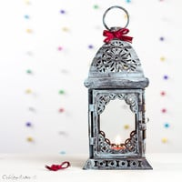 Moroccan Lantern - Dark blue - Painted and Distressed Glass Metal Candle Holder - Lantern - Wedding Accessory