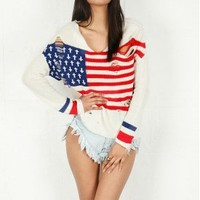 UNIF Flag Religion Sweater in Red/White/Blue