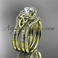 14kt yellow gold diamond celtic trinity knot wedding ring, engagement ring with a double matching band CT7155S