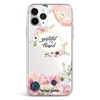 Grateful & Blessed Floral iPhone Case