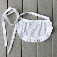 """11"""" Toddler White Apron, Eyelet Fabric Apron With Ruffles, Pretty French Maid apron, Bridal  gift for Her, Old Fashioned Apron for Costumes"""
