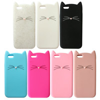 3D Cute Cartoon Cat Case Cover for iPhone 6 4.7 inch/5 5G 5S Soft Silicone Phone Case Accessories