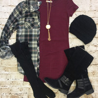 Hitting the Town Dress: Burgundy/Black