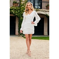Erin Ruffle Dress (White)