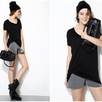 womens t-shirts in black,white,drape at side,asymmetrical,short sleeve,casual,loose fit,chic,fashion,unique,comfortable,for summer.--E0226