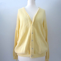 80s Pale Yellow Slouchy Cardigan by PT Neule, Men's M // Vintage Office Knit Sweater // Vintage Preppy Cardigan