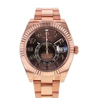Rolex Sky Dweller Chocolate Dial Rose Gold Men's Watch 326935