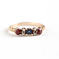 Antique Victorian 10k Rose Gold Garnet , Seed Pearl & Sapphire Ring - Vintage Size 7 Red , White and Blue Gem Patriotic Fine MC Jewelry