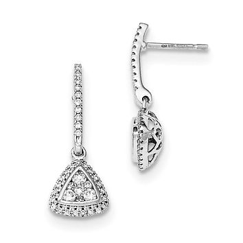 14k Yellow Gold Mystere White Gold Real Diamond Post Drop Earrings