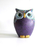 Owl Coin Bank:Hand Painted Colorful Owl Coin Bank Piggy Bank Purple leaves Dot painting