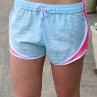 Seersucker Running Shorts {Light Blue + Pink}