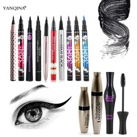 YANQINA Brand Eyes Makeup Series Black Liquid Eyeliner Pencil Eyes Make up Mascara Beauty Cosmetics Colorful Eye Liner Kit