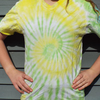 Vneck Tie Dye Shirt, Adult Small Tie Dye TShirt in Green and Yellow, V-neck Tie Dye Tee, Hippie Shirt Retro Boho 60s Shirt Cruise Shirt