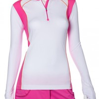 SPECIAL EP New York Ladies Long Sleeve Colorblock Golf Shirts - BRILLIANTS (White Multi)