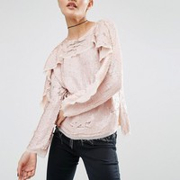 ASOS Ruffle Sweat Top in Sequin with Raw Edge at asos.com