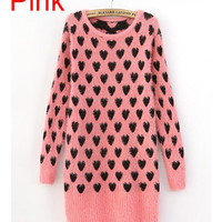 *Free Shipping* Pink Sweetheart Knitting Fitting Sweater TBHTK1113p from clothingloves