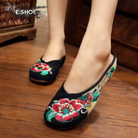summer canvas fashion ladies slippers national style retro black sexy embroidery leisure women slippers shoes for girls