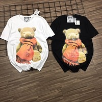 """Moschino"" Unisex Fashion Cute Cartoon Scarf Bear Print Couple Short Sleeve Cotton T-shirt Top Tee"