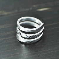 custom spiral ring alloy ring hand stamped your text hammered ring can be personalized-in Rings from Jewelry & Accessories on Aliexpress.com | Alibaba Group